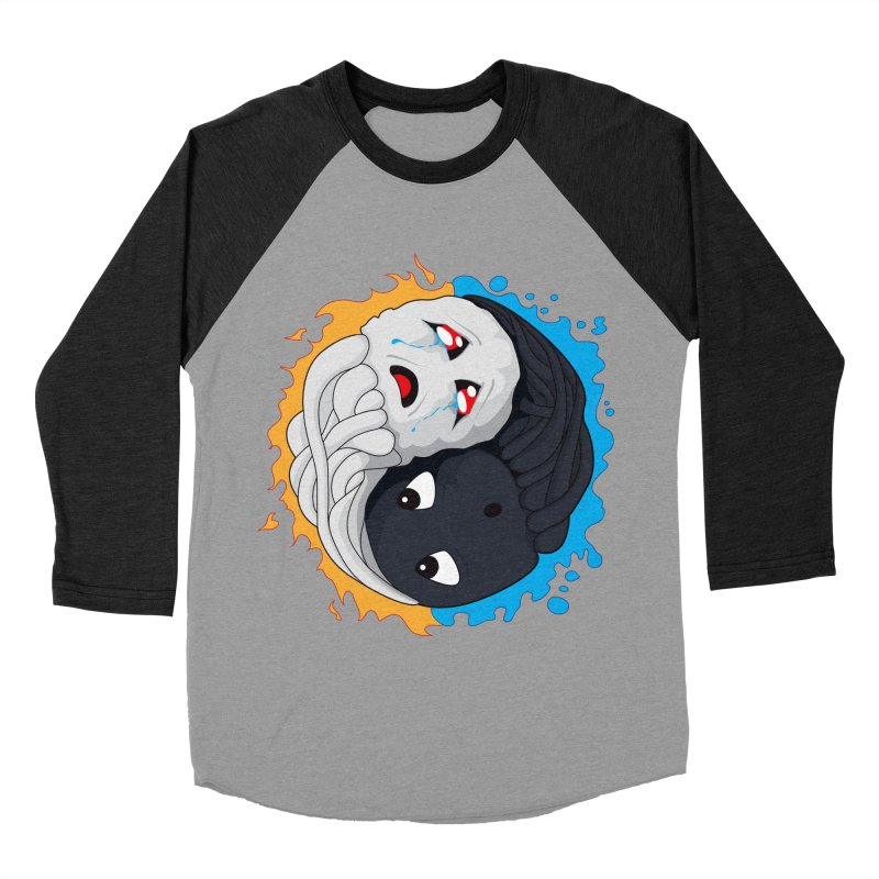 Yin Yang Ghast Squid Men's Baseball Triblend T-Shirt by Mythic Ink's Shop