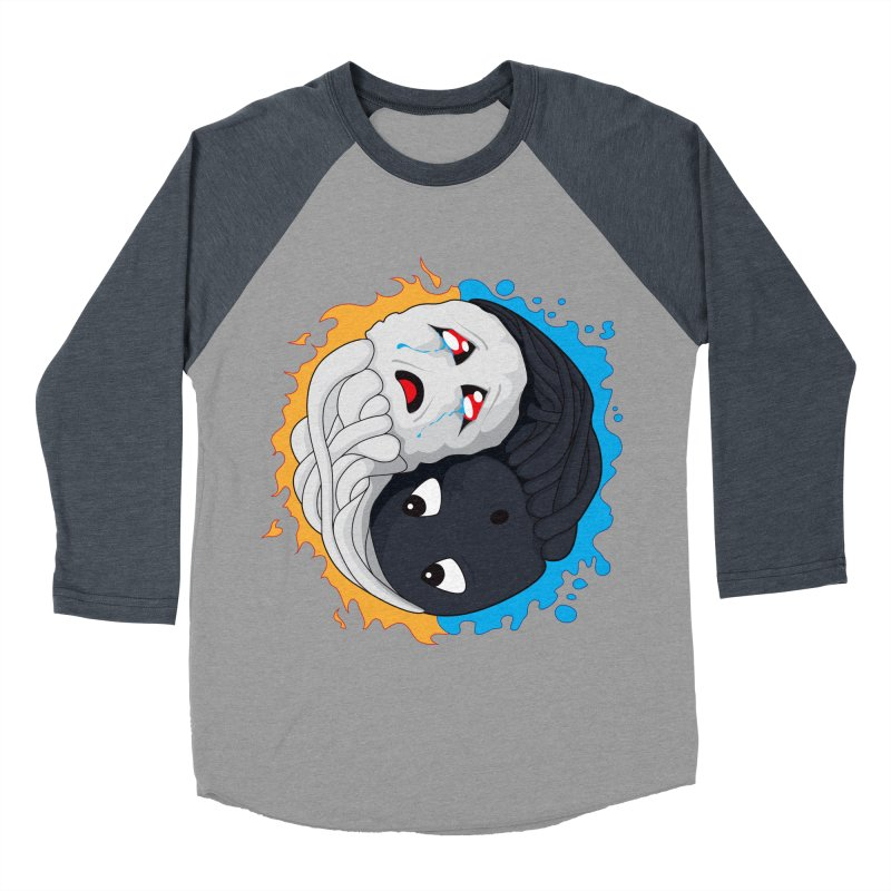 Yin Yang Ghast Squid Men's Baseball Triblend Longsleeve T-Shirt by Mythic Ink's Shop