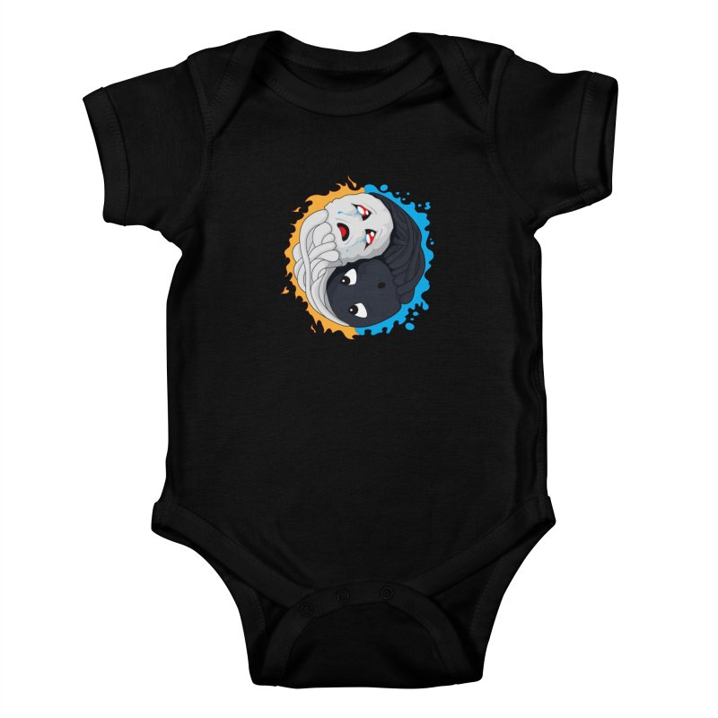 Yin Yang Ghast Squid Kids Baby Bodysuit by Mythic Ink's Shop