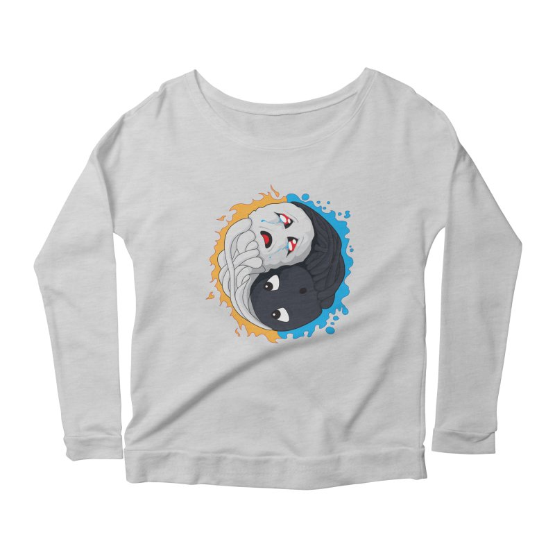Yin Yang Ghast Squid Women's Longsleeve Scoopneck  by Mythic Ink's Shop
