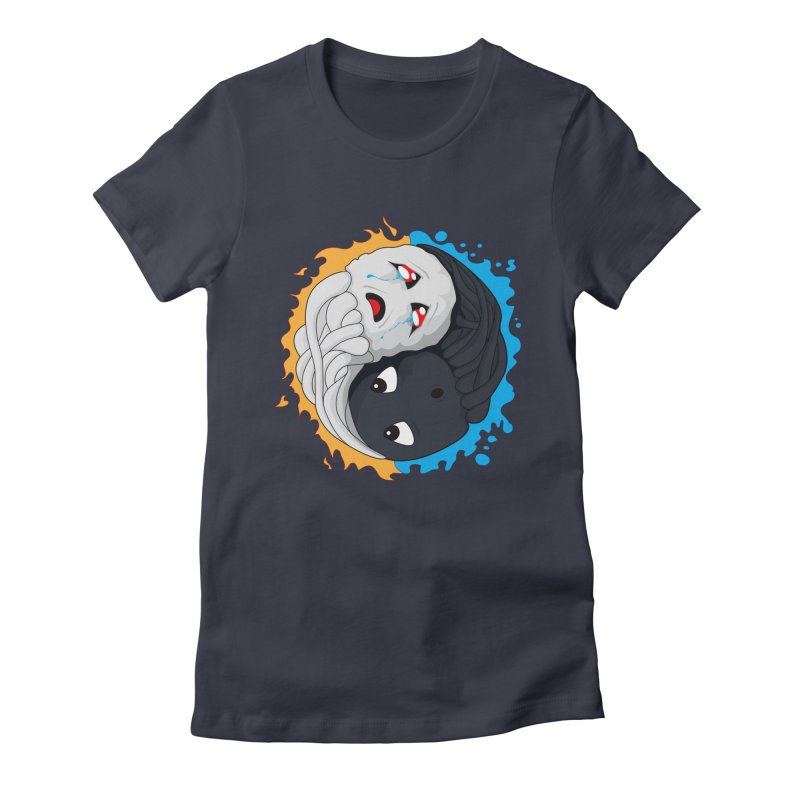 Yin Yang Ghast Squid Women's Fitted T-Shirt by Mythic Ink's Shop