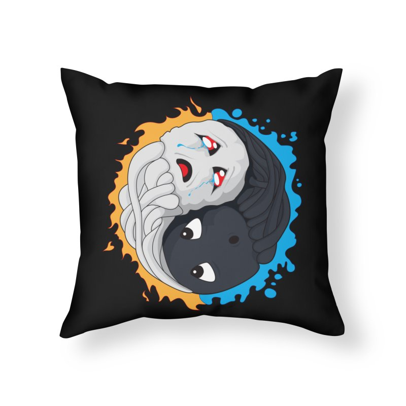 Yin Yang Ghast Squid Home Throw Pillow by Mythic Ink's Shop
