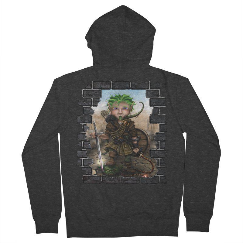 Folkor the Gnome Bard Men's French Terry Zip-Up Hoody by Mythic Ink's Shop