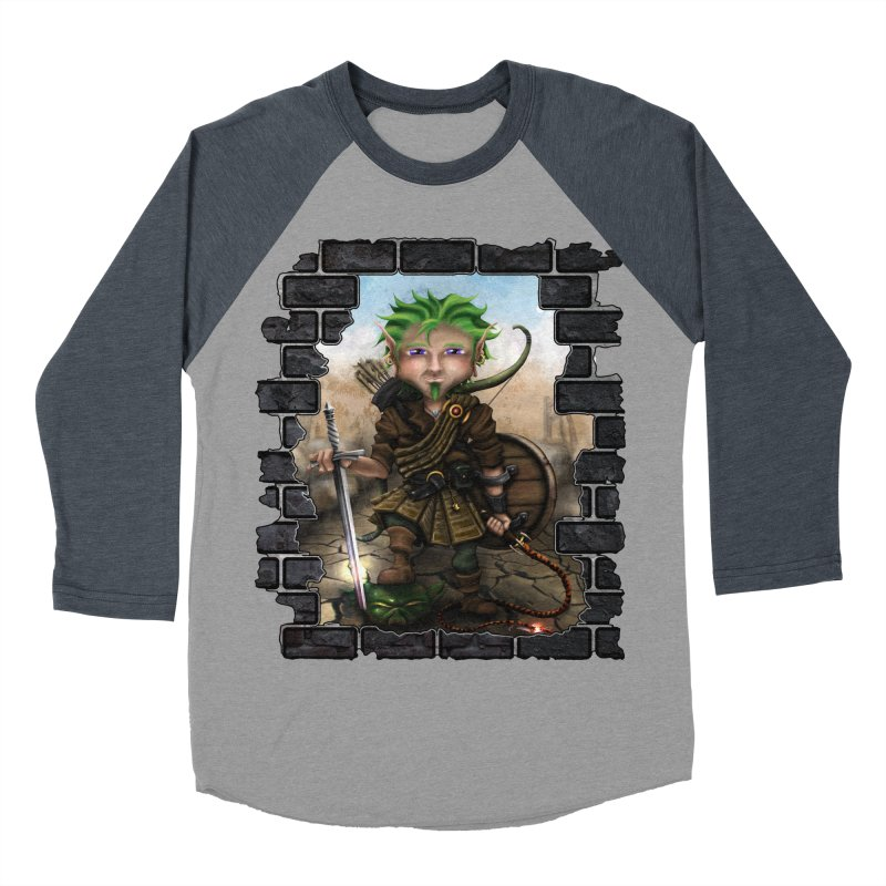 Folkor the Gnome Bard Men's Baseball Triblend Longsleeve T-Shirt by Mythic Ink's Shop