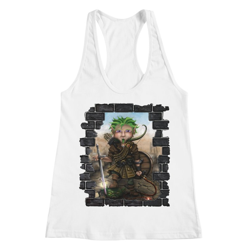 Folkor the Gnome Bard Women's Racerback Tank by Mythic Ink's Shop