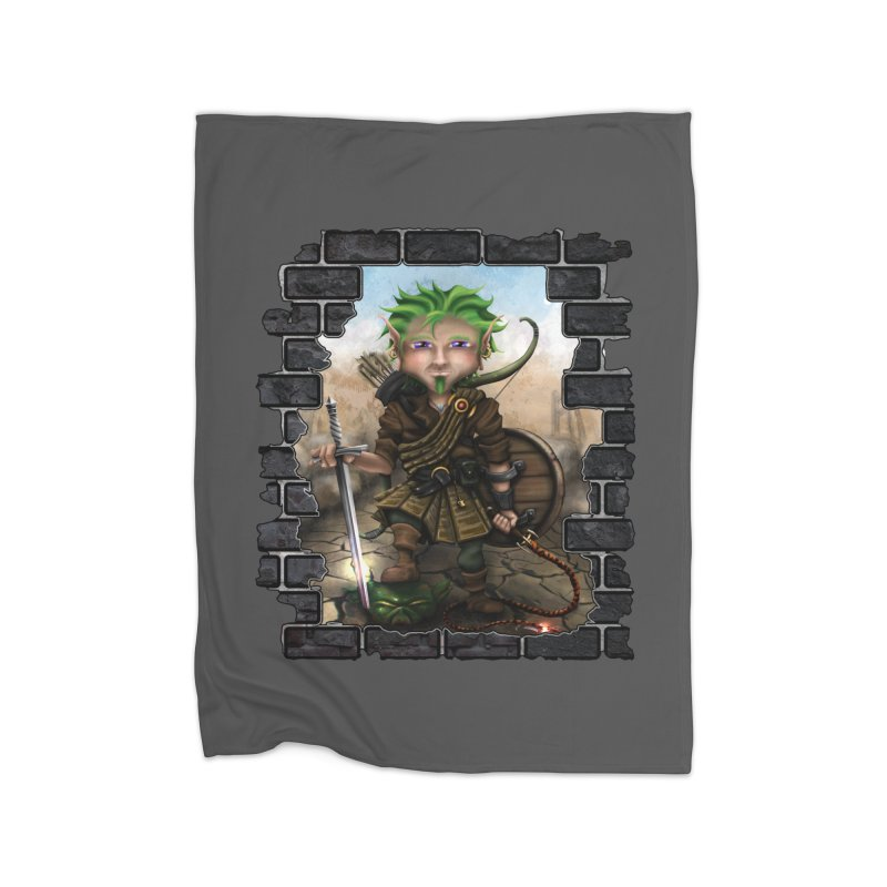 Folkor the Gnome Bard Home Fleece Blanket Blanket by Mythic Ink's Shop