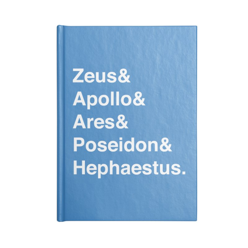 Helvetica Gods (White Text) Accessories Blank Journal Notebook by Myths Baby's Artist Shop