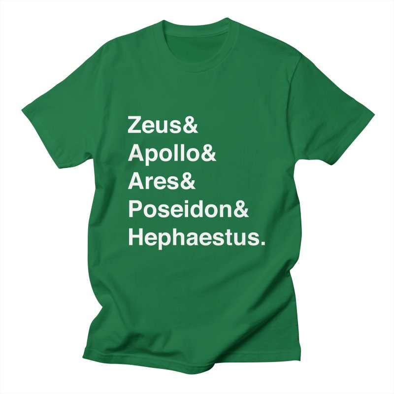 Helvetica Gods (White Text) Men's T-Shirt by Let's Talk About Myths, Baby! Merch Shop