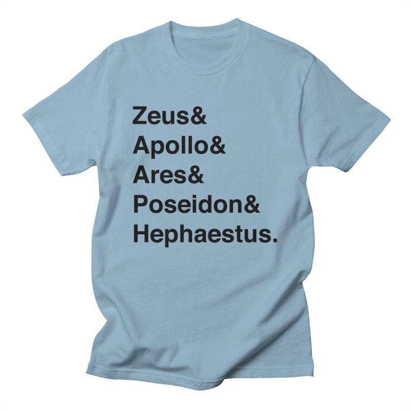 Helvetica Gods (Black Text) Men's T-Shirt by Let's Talk About Myths, Baby! Merch Shop