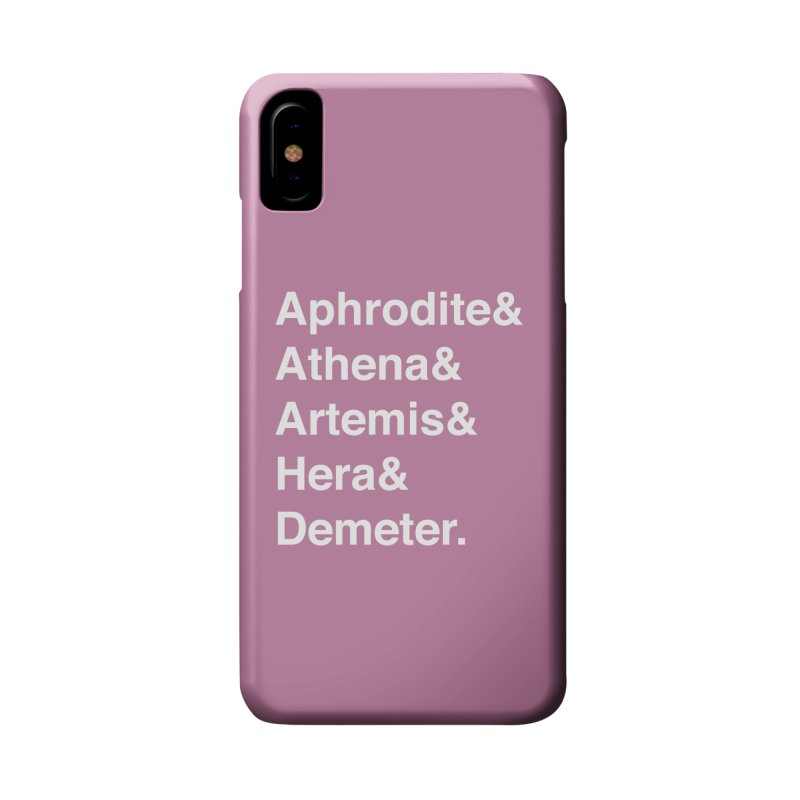 Helvetica Goddesses (White Text) Accessories Phone Case by Let's Talk About Myths, Baby! Merch Shop