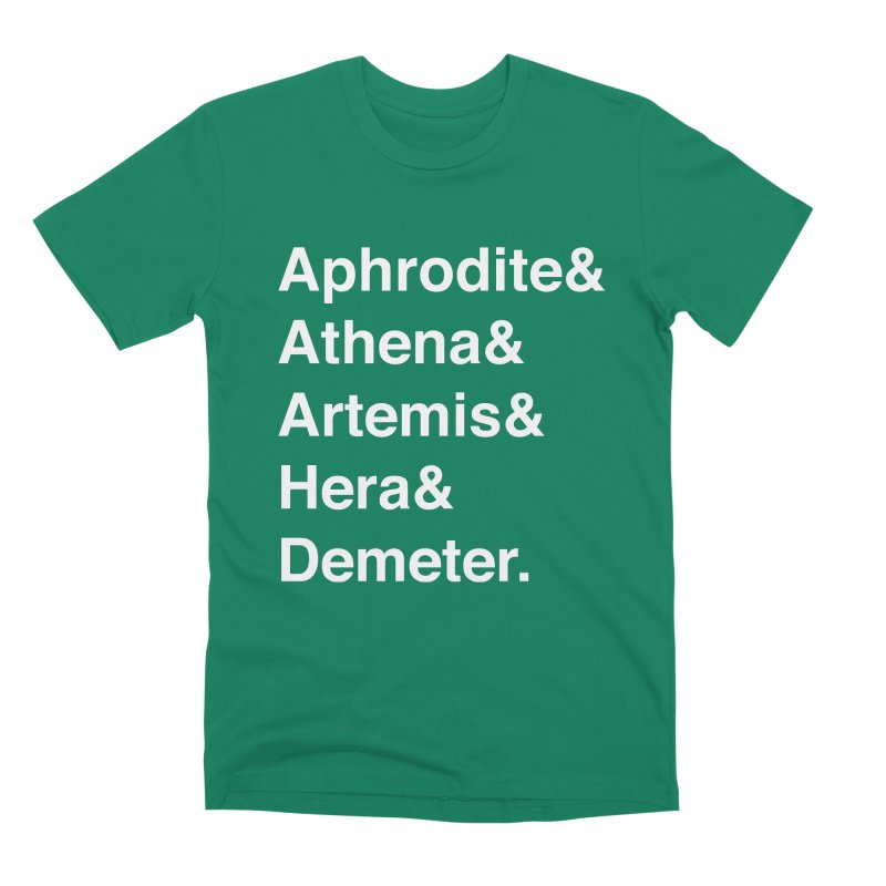 Helvetica Goddesses (White Text) Men's T-Shirt by Let's Talk About Myths, Baby! Merch Shop