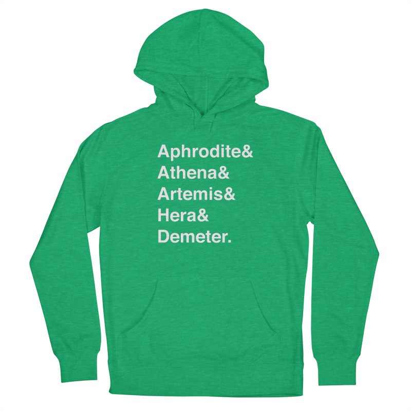 Helvetica Goddesses (White Text) Men's Pullover Hoody by Let's Talk About Myths, Baby! Merch Shop