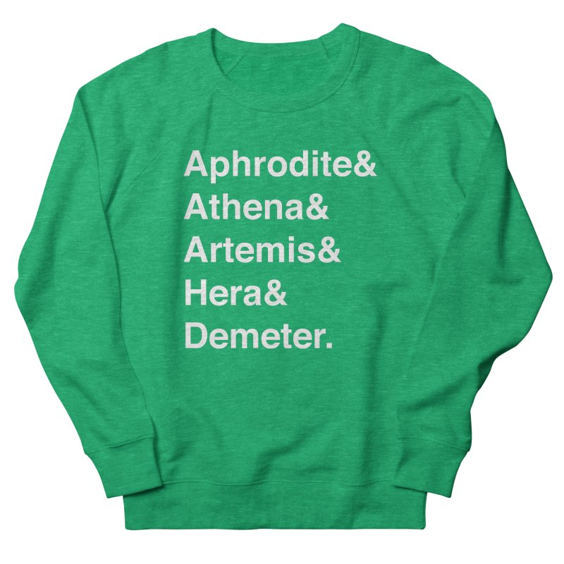 Helvetica Goddesses (White Text) Women's Sweatshirt by Let's Talk About Myths, Baby! Merch Shop