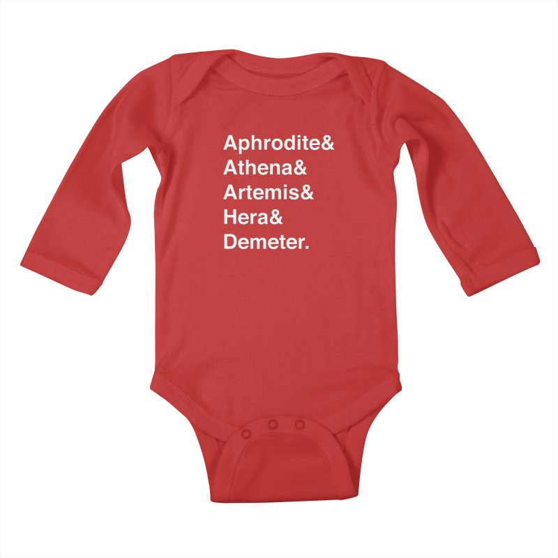 Helvetica Goddesses (White Text) Kids Baby Longsleeve Bodysuit by Myths Baby's Artist Shop