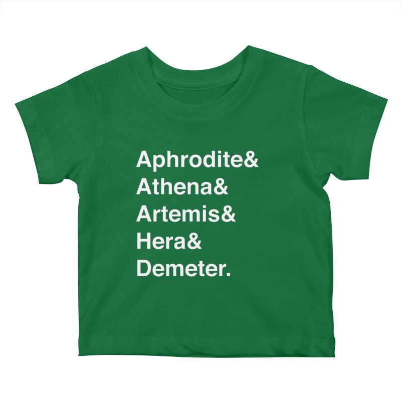 Helvetica Goddesses (White Text) Kids Baby T-Shirt by Let's Talk About Myths, Baby! Merch Shop