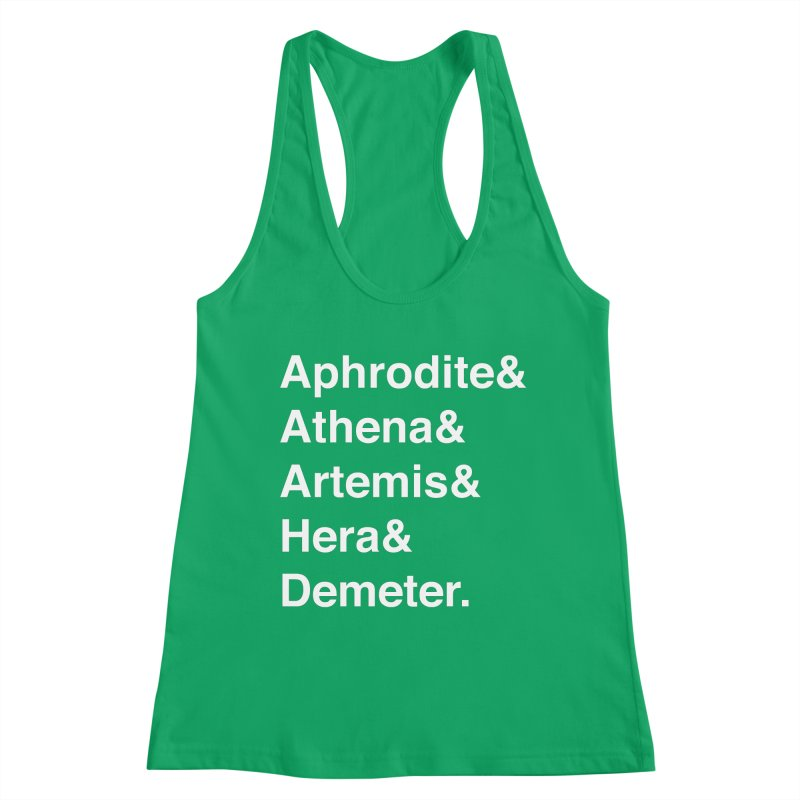 Helvetica Goddesses (White Text) Women's Tank by Let's Talk About Myths, Baby! Merch Shop