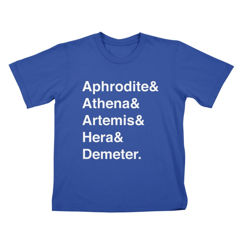 Helvetica Goddesses (White Text) Kids T-Shirt by Let's Talk About Myths, Baby! Merch Shop