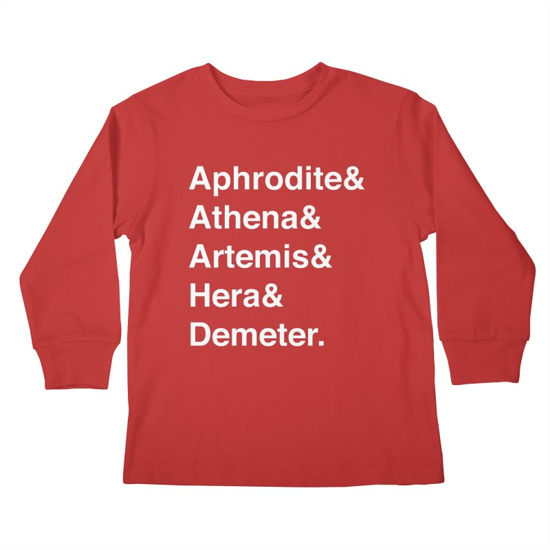 Helvetica Goddesses (White Text) Kids Longsleeve T-Shirt by Let's Talk About Myths, Baby! Merch Shop