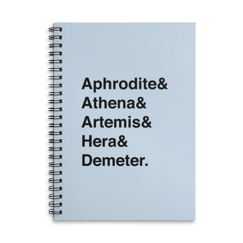 Helvetica Goddesses (Black Text) Accessories Notebook by Let's Talk About Myths, Baby! Merch Shop
