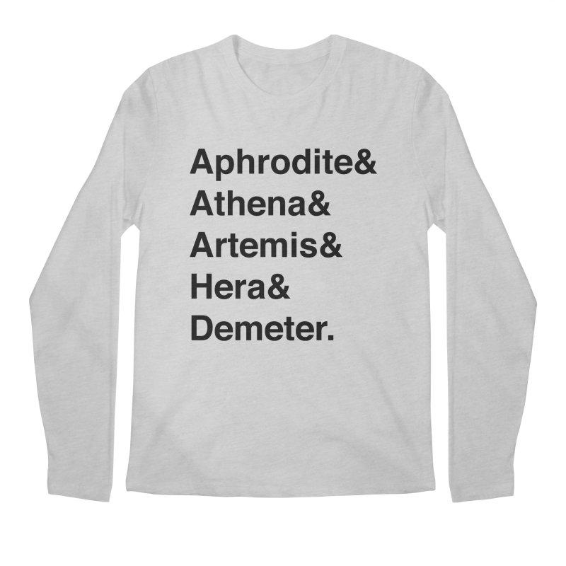 Helvetica Goddesses (Black Text) Men's Longsleeve T-Shirt by Let's Talk About Myths, Baby! Merch Shop