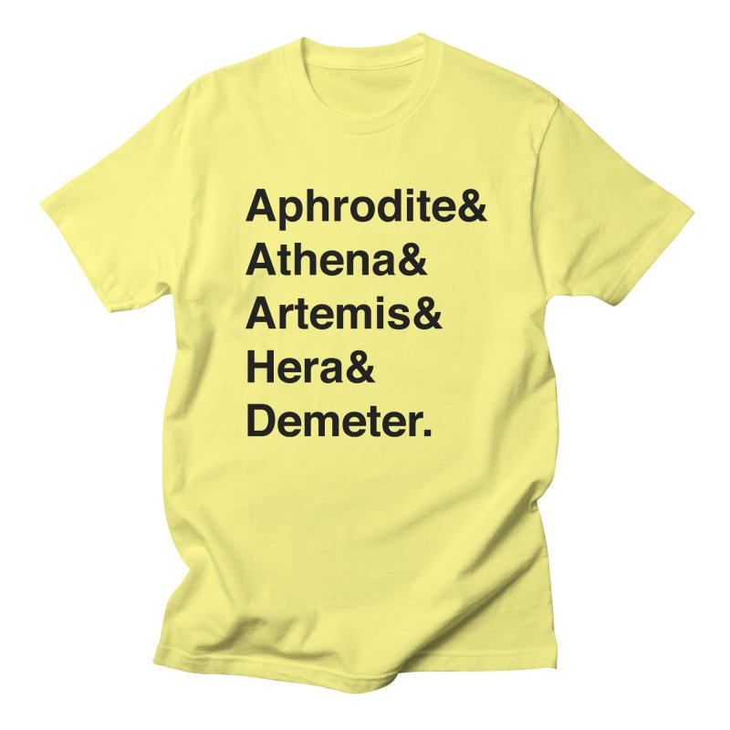 Helvetica Goddesses (Black Text) Men's T-Shirt by Let's Talk About Myths, Baby! Merch Shop