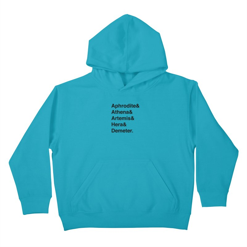 Helvetica Goddesses (Black Text) Kids Pullover Hoody by Myths Baby's Artist Shop