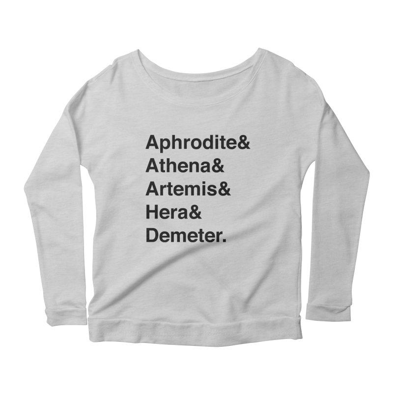 Helvetica Goddesses (Black Text) Women's Longsleeve T-Shirt by Let's Talk About Myths, Baby! Merch Shop