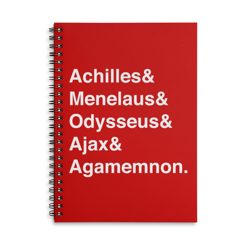 Helvetica Heroes of the Trojan War (White Text) Accessories Lined Spiral Notebook by Myths Baby's Artist Shop
