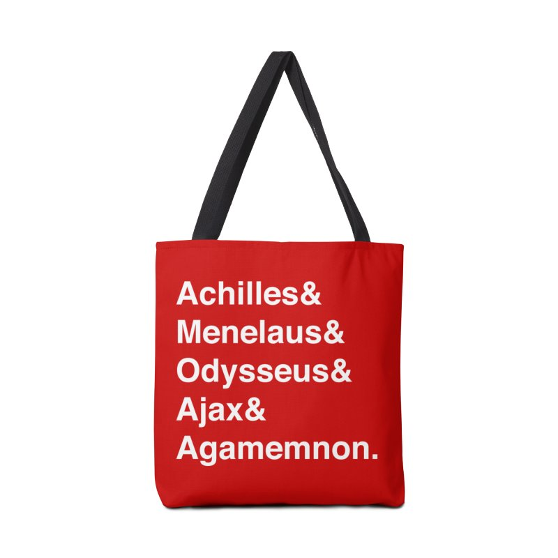 Helvetica Heroes of the Trojan War (White Text) Accessories Tote Bag Bag by Myths Baby's Artist Shop