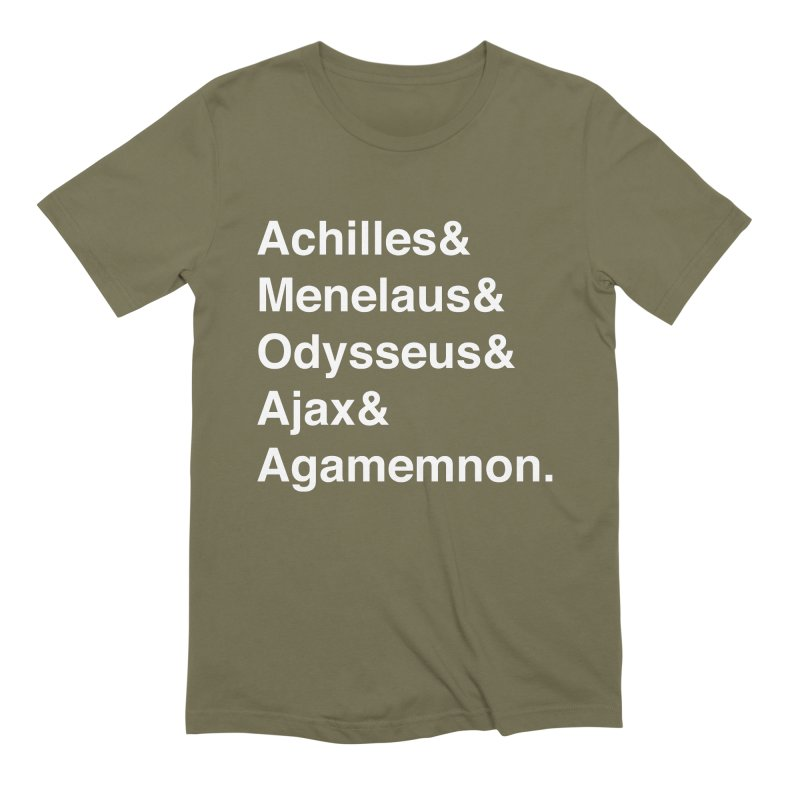 Helvetica Heroes of the Trojan War (White Text) Men's Extra Soft T-Shirt by Myths Baby's Artist Shop