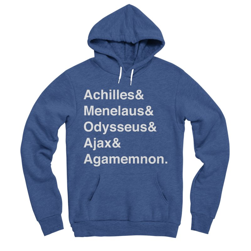 Helvetica Heroes of the Trojan War (White Text) Men's Sponge Fleece Pullover Hoody by Myths Baby's Artist Shop