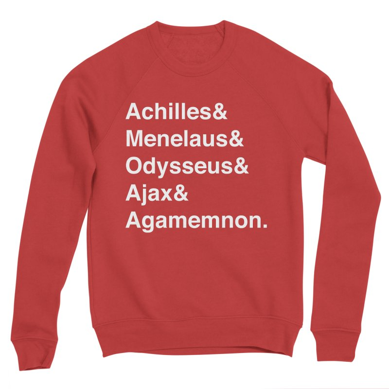 Helvetica Heroes of the Trojan War (White Text) Women's Sponge Fleece Sweatshirt by Myths Baby's Artist Shop