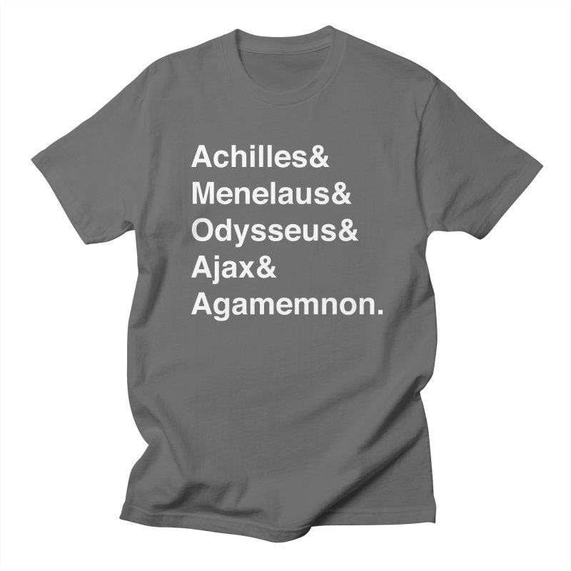 Helvetica Heroes of the Trojan War (White Text) Men's T-Shirt by Myths Baby's Artist Shop