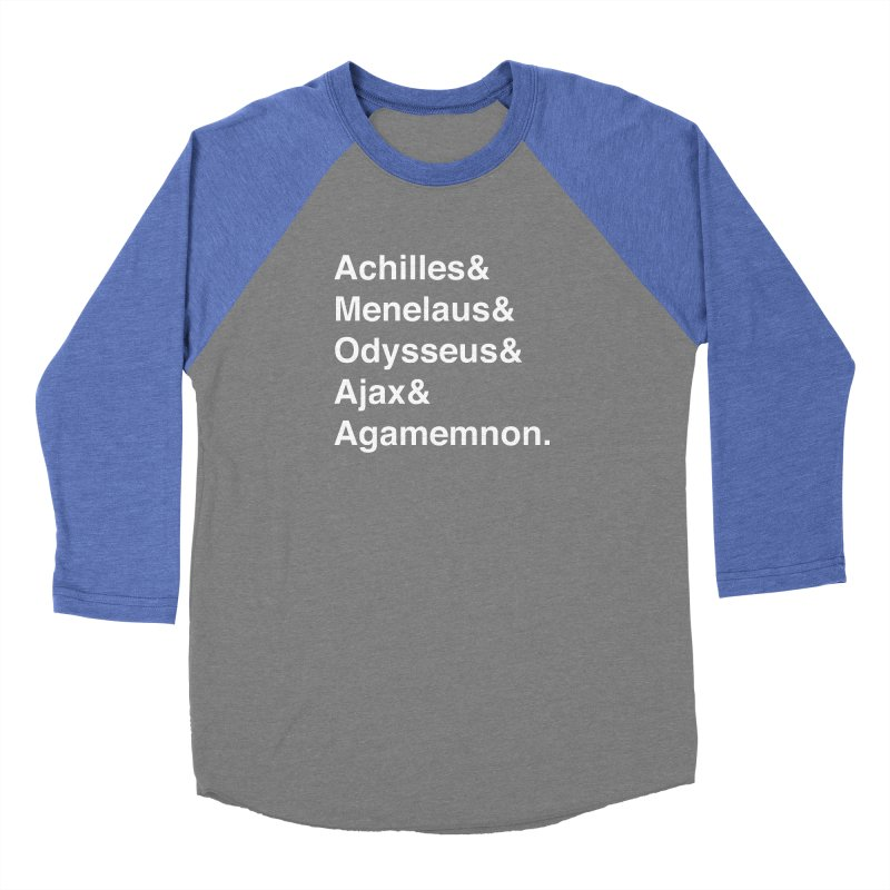 Helvetica Heroes of the Trojan War (White Text) Women's Longsleeve T-Shirt by Let's Talk About Myths, Baby! Merch Shop
