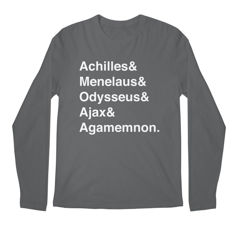 Helvetica Heroes of the Trojan War (White Text) Men's Longsleeve T-Shirt by Let's Talk About Myths, Baby! Merch Shop
