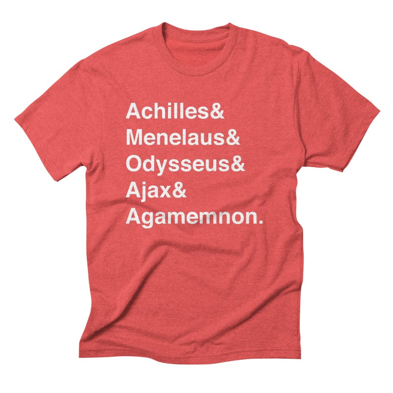 Helvetica Heroes of the Trojan War (White Text) Men's Triblend T-Shirt by Myths Baby's Artist Shop