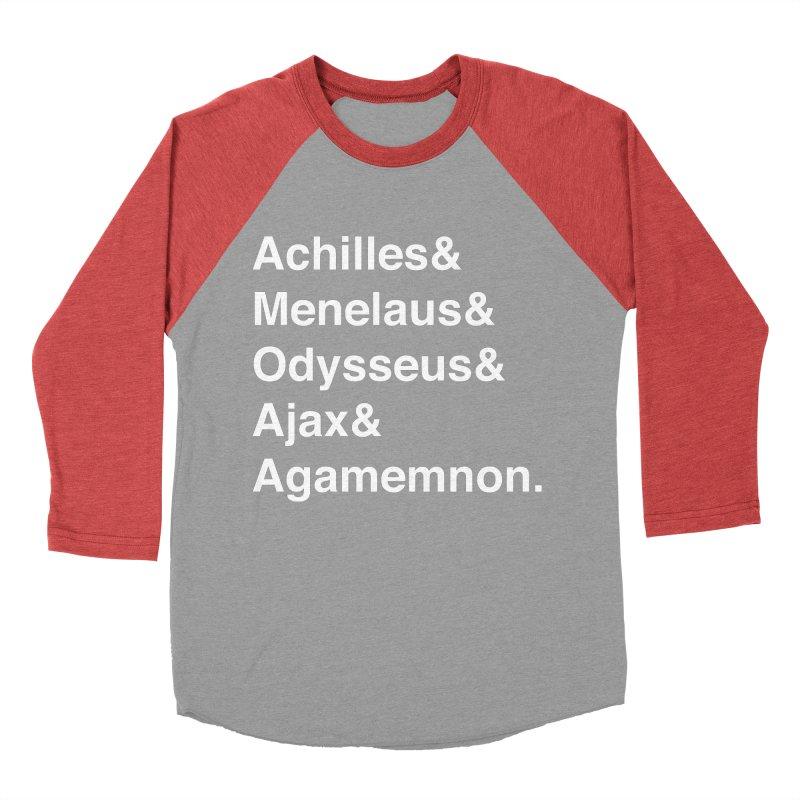 Helvetica Heroes of the Trojan War (White Text) Women's Baseball Triblend Longsleeve T-Shirt by Myths Baby's Artist Shop