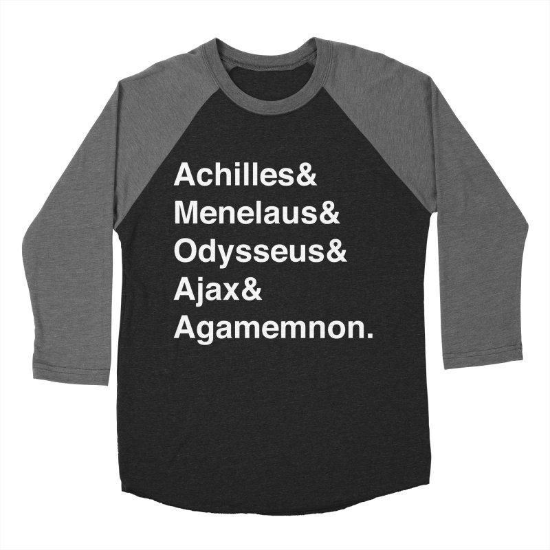 Helvetica Heroes of the Trojan War (White Text) Men's Baseball Triblend Longsleeve T-Shirt by Myths Baby's Artist Shop