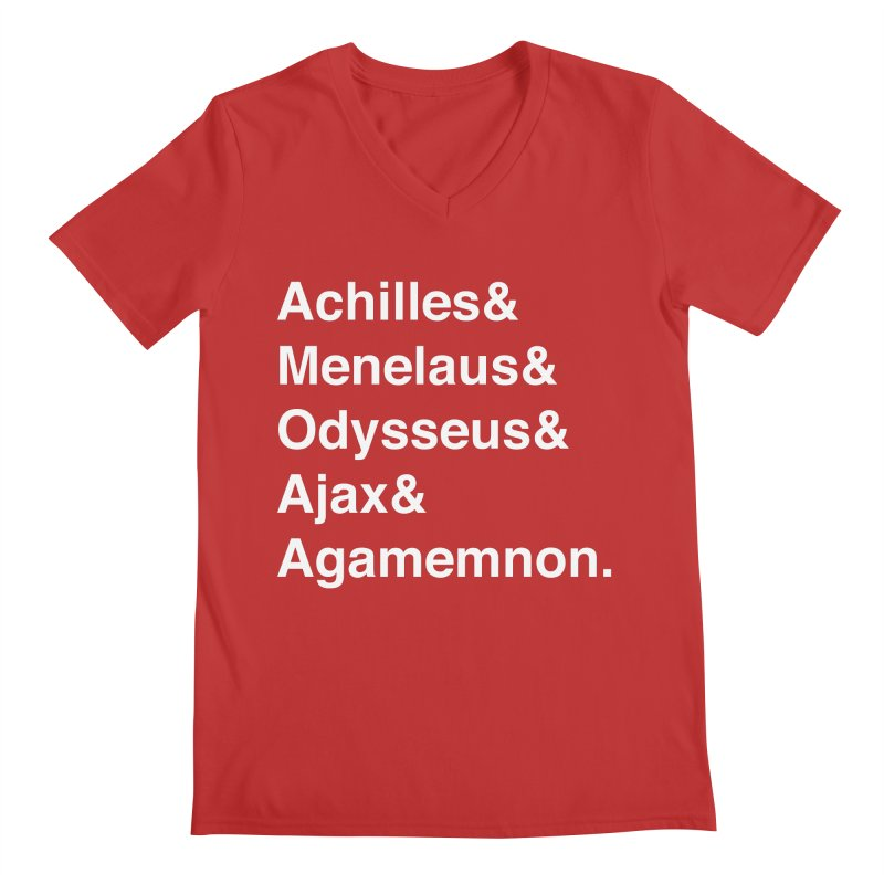 Helvetica Heroes of the Trojan War (White Text) Men's V-Neck by Let's Talk About Myths, Baby! Merch Shop