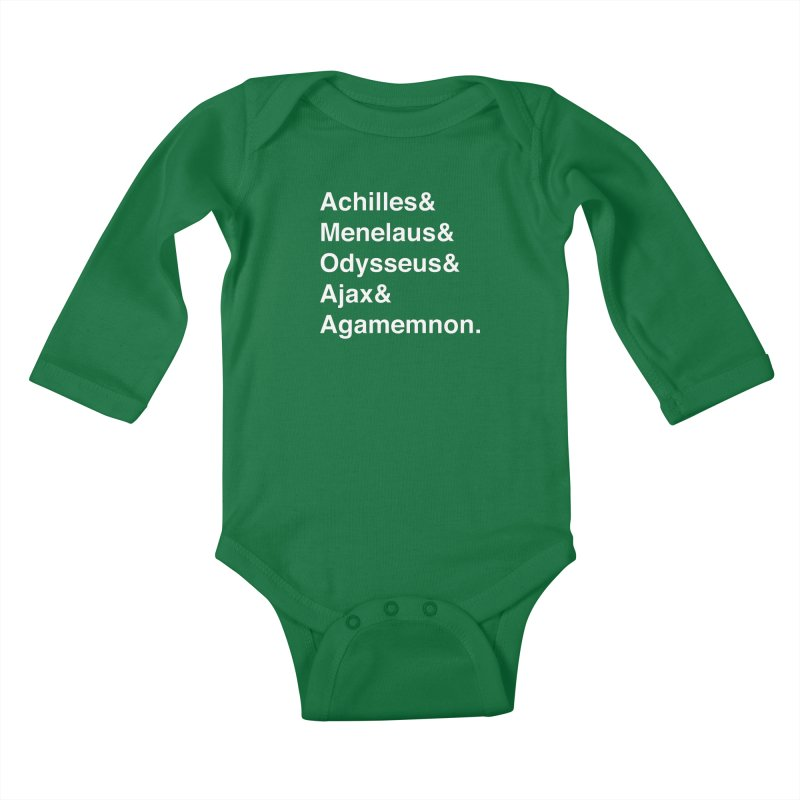 Helvetica Heroes of the Trojan War (White Text) Kids Baby Longsleeve Bodysuit by Let's Talk About Myths, Baby! Merch Shop