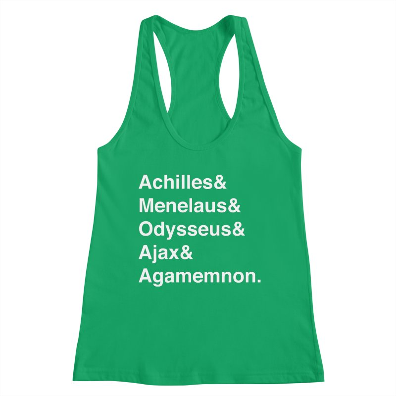 Helvetica Heroes of the Trojan War (White Text) Women's Tank by Let's Talk About Myths, Baby! Merch Shop
