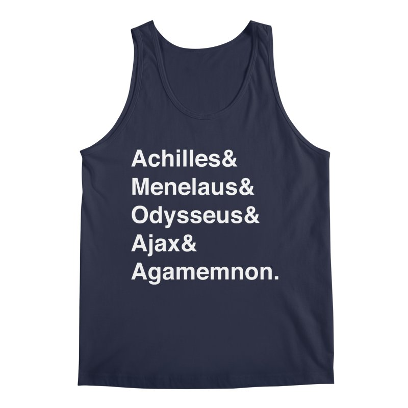 Helvetica Heroes of the Trojan War (White Text) Men's Regular Tank by Myths Baby's Artist Shop