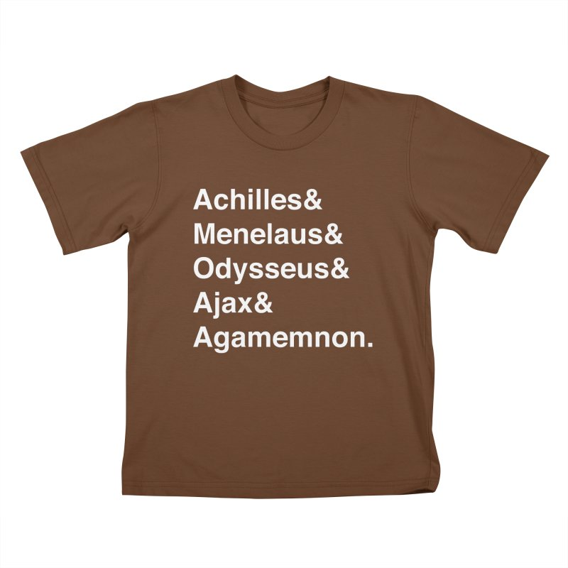 Helvetica Heroes of the Trojan War (White Text) Kids T-Shirt by Myths Baby's Artist Shop