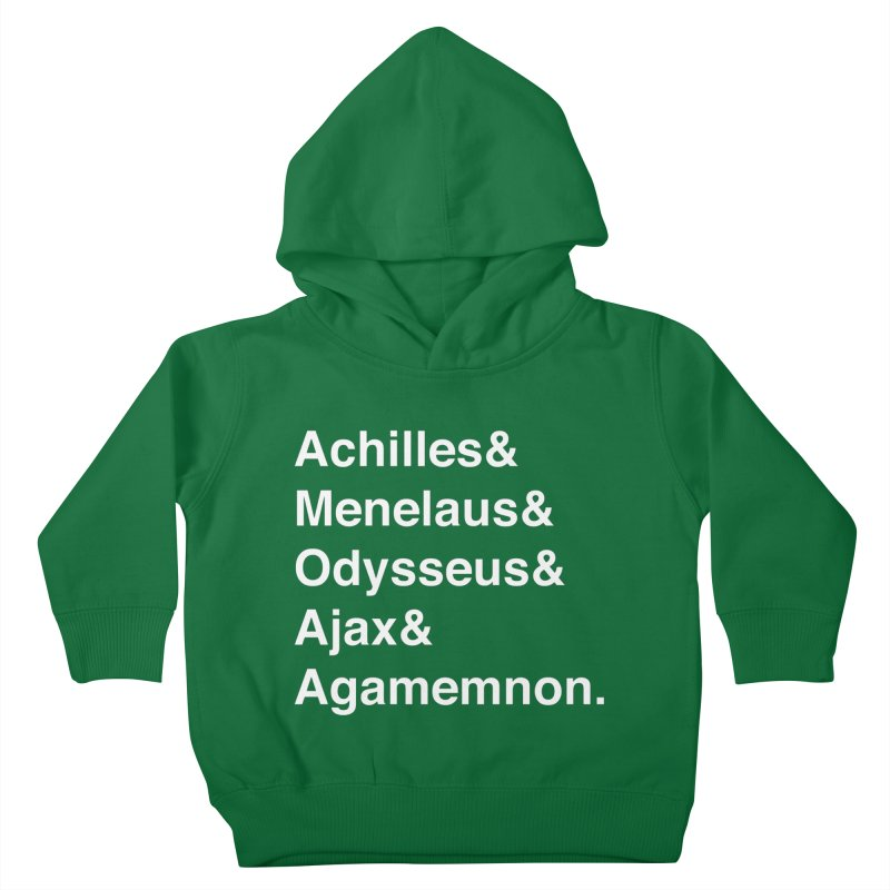 Helvetica Heroes of the Trojan War (White Text) Kids Toddler Pullover Hoody by Myths Baby's Artist Shop