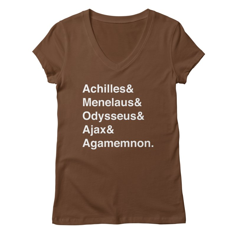 Helvetica Heroes of the Trojan War (White Text) Women's Regular V-Neck by Myths Baby's Artist Shop