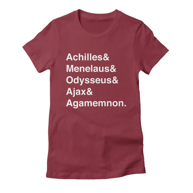 Helvetica Heroes of the Trojan War (White Text) Women's T-Shirt by Let's Talk About Myths, Baby! Merch Shop