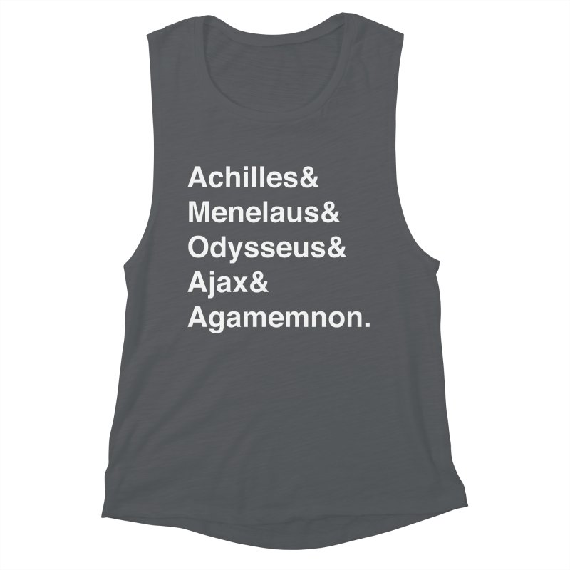 Helvetica Heroes of the Trojan War (White Text) Women's Muscle Tank by Myths Baby's Artist Shop