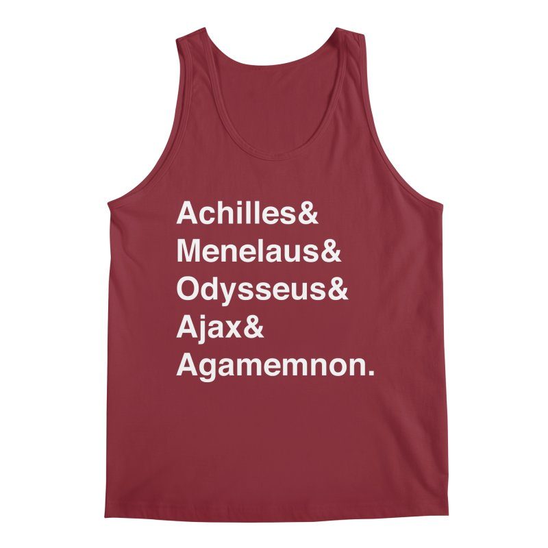 Helvetica Heroes of the Trojan War (White Text) Men's Tank by Myths Baby's Artist Shop