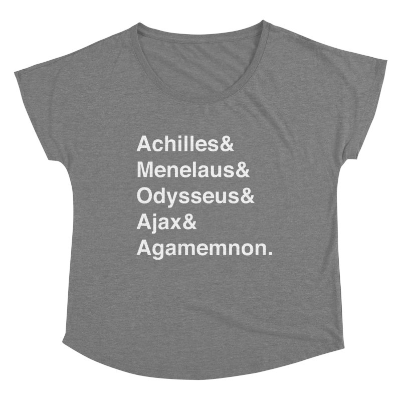 Helvetica Heroes of the Trojan War (White Text) Women's Scoop Neck by Let's Talk About Myths, Baby! Merch Shop
