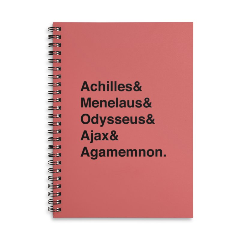 Helvetica Heroes of the Trojan War (Black Text) Accessories Lined Spiral Notebook by Myths Baby's Artist Shop